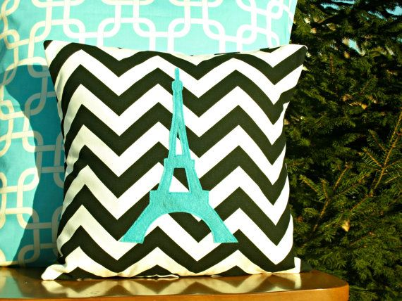 Eiffel Tower Chevron Pillow Cover - Black Chevron - Turquoise Applique - Kid/Nursery Sized - 14x14