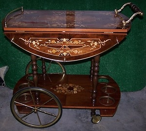 Bedside table - antique tea cart. ha!