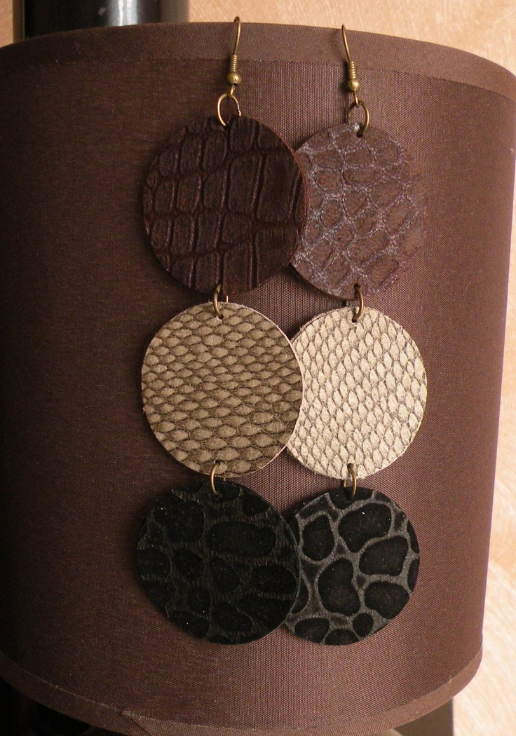 Leather Earrings. $8.00, via Etsy.