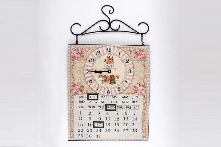 Ceas metalic de perete cu calendar Rose