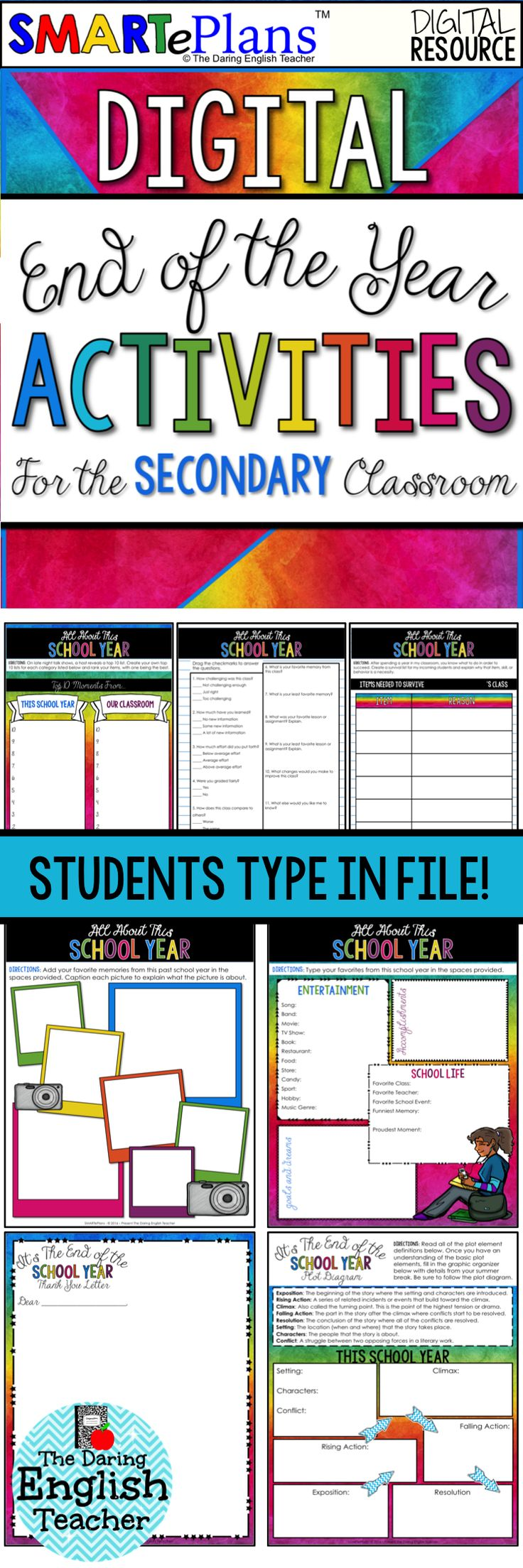 End of the school year digital activities for Google Drive. This end of the year digital resource is the perfect way to conclude the last day or last month of school with your middle school and high school students.