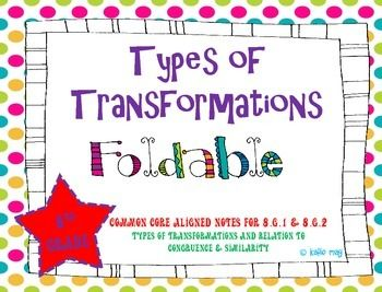 This product contains 1 foldable pages. The foldable is Common Core Aligned to Standard 8.G.1 & 8.G.2, types of transformations and their relation to congruence or similarity. It reviews what each type of transformation is and how the shape is effected.