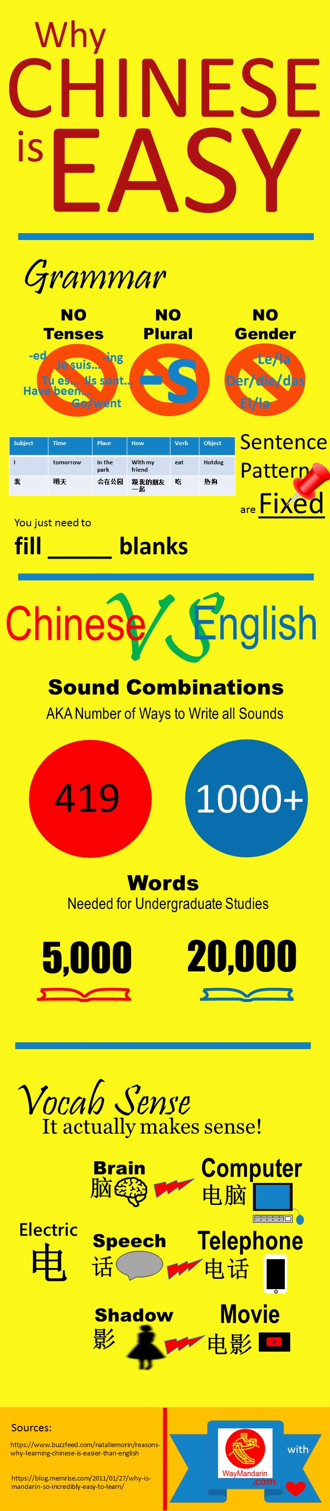 Infographic. Many think Chinese is hard to learn. But actually, there are many reasons that make Chinese easier than most people realize. Here are just a few reasons why Chinese is easy. From waymandarin.com blog.