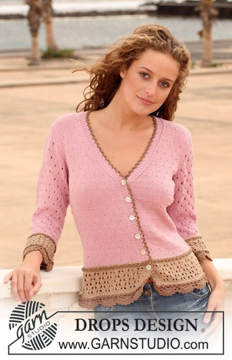 """DROPS jacket in """"Safran"""" with lace pattern and crochet borders. Size XS - XXL. ~ DROPS Design   Love this!"""
