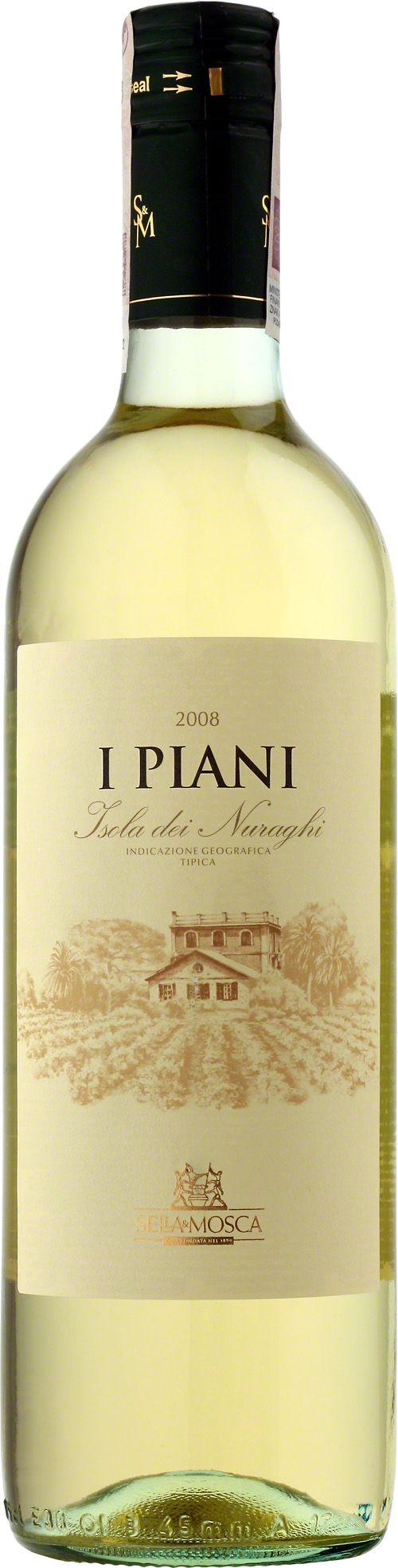Sella & Mosca I Piani Isola Dei Nerughi I.G.T. Bianco Białe i odświeżające młode wino, w stylu podobne do win musujących. Nowoczesny trunek o mineralnym, delikatnym smaku. #SellaMosca #IPiani #IsolaDeiNerughi #Bianco #Wino #Sardynia #Włochy #Winezja