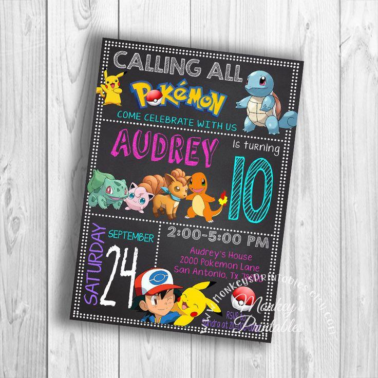 Pokemon Invitation, Pokemon Go, Pokemon Birthday Invitation, Pokemon Party Invite, Pokemon Party Printable Birthday Party Invitation by MonkeysPrintables on Etsy https://www.etsy.com/listing/477919723/pokemon-invitation-pokemon-go-pokemon