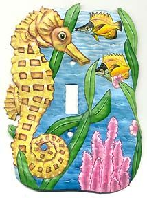 Hand Painted Metal Seahorse - Single Switchplate Cover - Decorative Tropical Decor   -  TROPICAL FISH DECOR – Painted metal wall decor, Tropical fish themed switch plate covers, Handcrafted stained glass sun catchers, Tropical fish design wall hooks and more. A huge selection of handcrafted tropical fish themed items for your tropical decorating. - Visit us at www.Tropical-Fish-Decor.com
