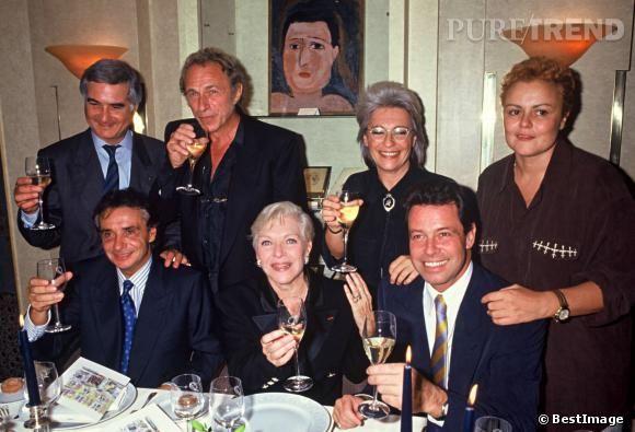 Line Renaud, Jean-Claude Brialy, Pierre Richard, Michel Sardou, Catherine Lara, Michel Leeb et Muriel Robin en 1991.