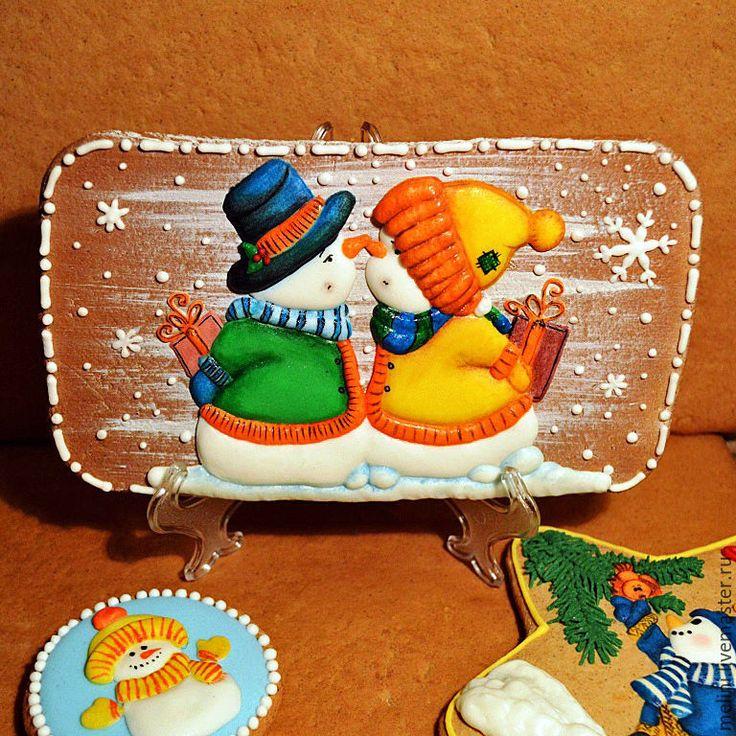 """Купить Пряники новогодние. Пряник новогодний """"Снеговики.Парочка"""" - пряники новогодние, пряники новый год"""