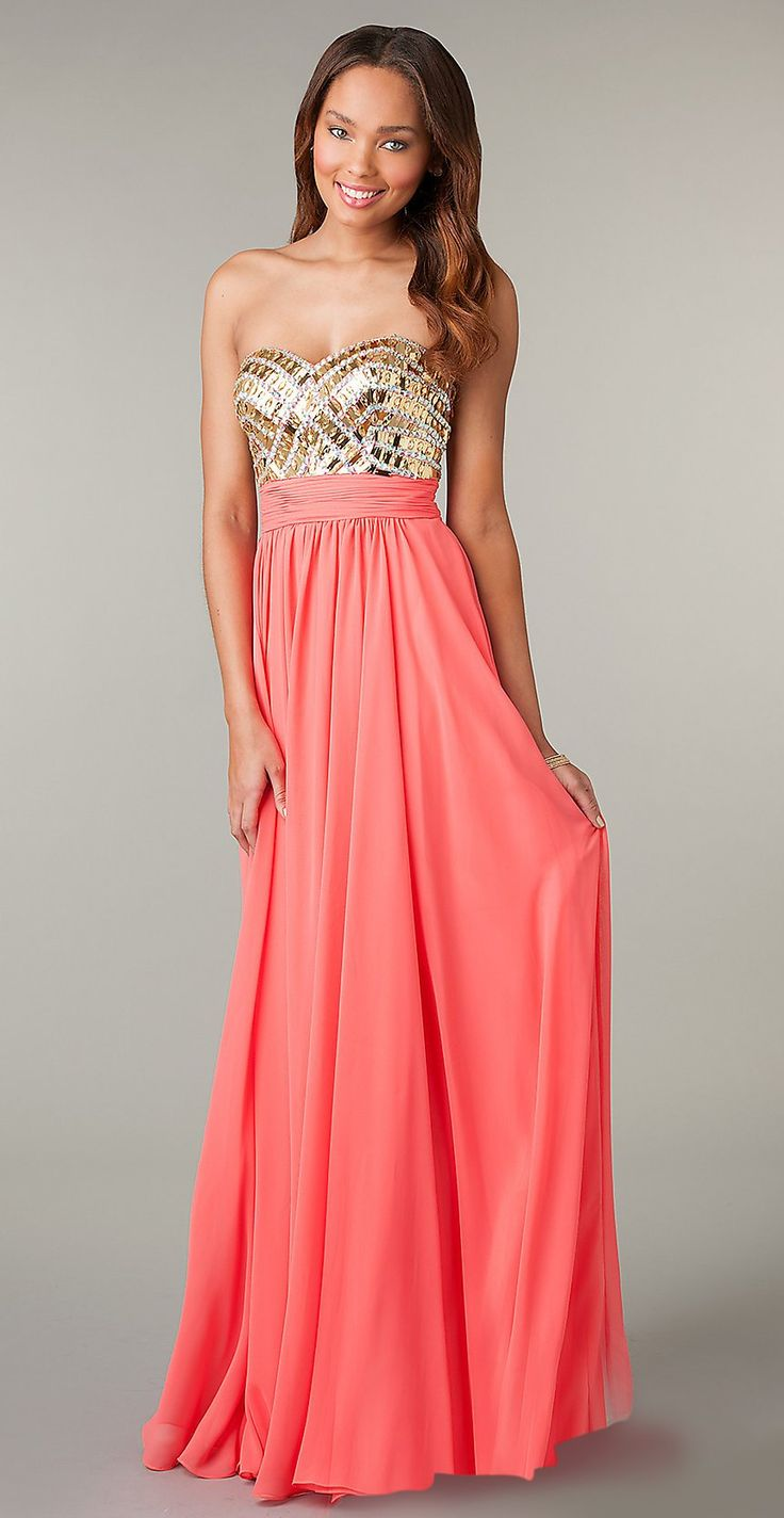 Jeweled Bodice Long Coral Prom Dress Chiffon Strapless Sweetheart $224.99