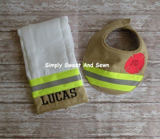 Firefighter Baby Personalized matching bib and Burp cloth, baby shower gift, New baby Gift by SimplySweetByB on Etsy