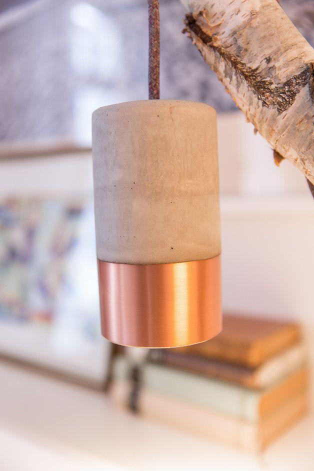 Cute Betonleuchte Kupfer im Set u Baldachin x m Textilkabel Lampe SchalterBeton DiyDiy M belKupferSelbermachenDekorationProjekteBasteln