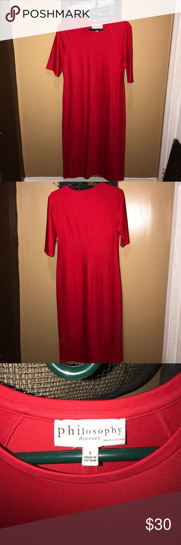 ♥️Philosophy dress!!♥️ Beautiful red, short sleeve Philosophy dress! The fabric info is in the pictures...feels amazing against your skin! Philosophy Dresses