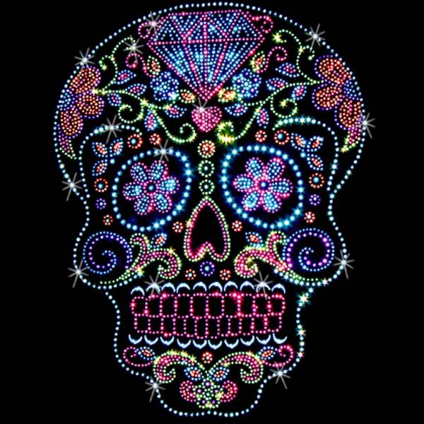 Sugar Skulls Rhinestone/Rhinestud t-shirts. $25.00.  As easy as 1…2….3… 1. Pick a design & shirt style (long-, short-sleeves, & color) 2. Tell us where to print it (front or back) 3. You enjoy it!  Click here for more Skull prints; http://www.909threads.com/Sugar-Skulls-p/15466.htm.