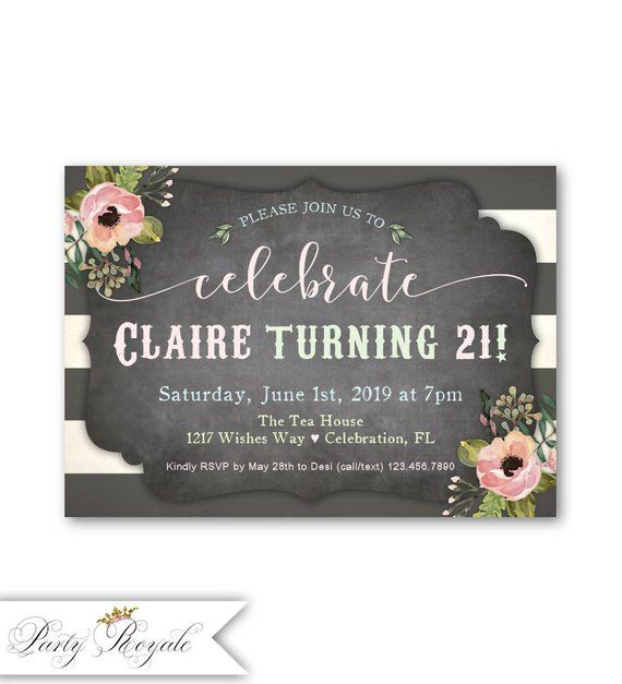21st Birthday Invitations For Her Womens Party Invites Printable Or Printed Chalkboard Pastel Theme