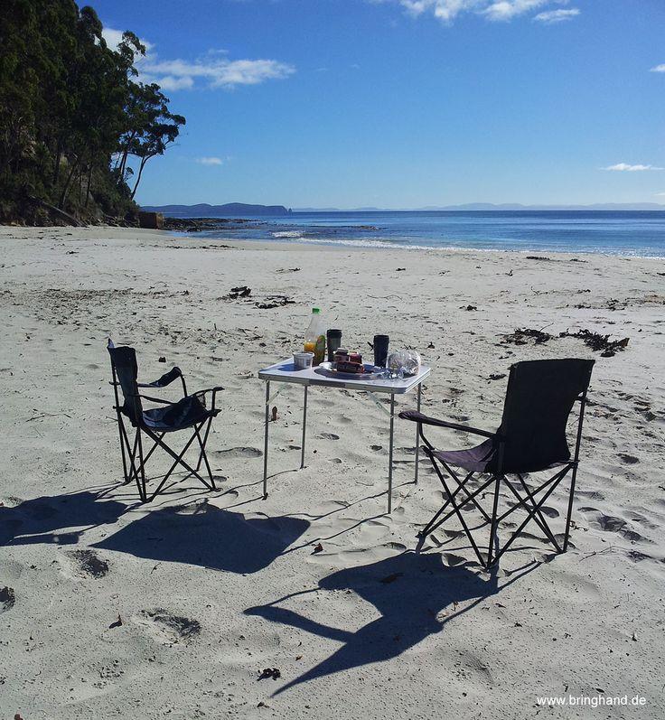 Frühstück bei Adventure-Bay (Tasmanien)  #Tasmanien #Insel #Reisen #brunyisland #Australien #Lagune #Meer #Ozean #Strand #Paradies