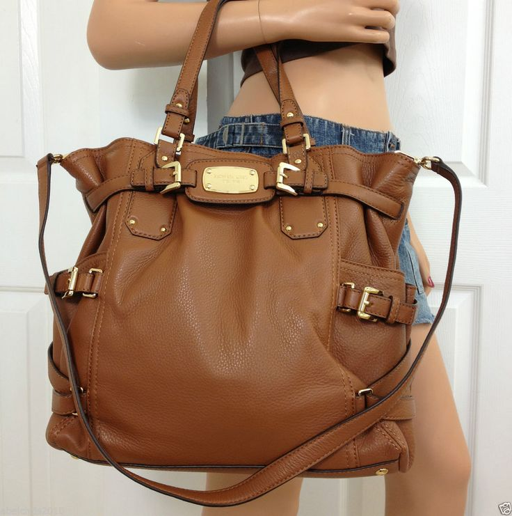 Michael Kors Gansevoort Brown Pebble Leather Large Tote Handbag Shoulder Purse #MichaelKors #ShoulderBag