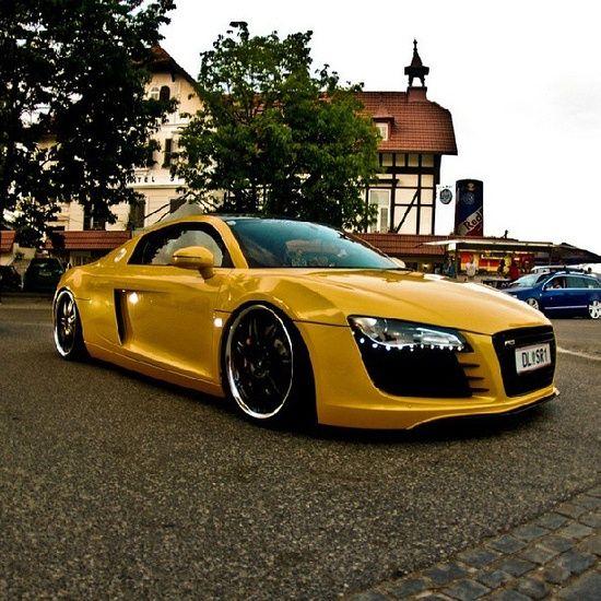 Slammed Yellow Audi R8