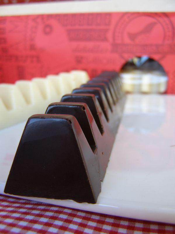 Tabletas de chocolate para regalar.  Una barra es de chocolate negro semi amargo y la otra es de chocolate blanco con coco.