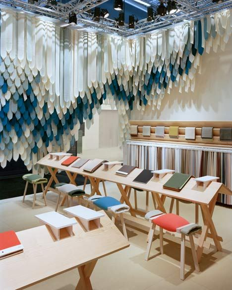 "The Picnic by Raw Edges for Kvadrat: excellent concept for the textiles display stand at Stockholm Design Week 2013. ""The stand was intended to evoke a wooden cabin, soft roof tiles, fish skin, and a picnic under a weeping willow."""