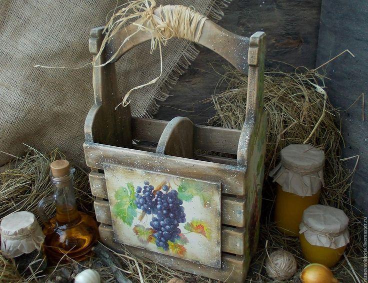 Купить Короб для вина Ольха - тёмно-синий, горошек, цветы, лето, весна, журнальница