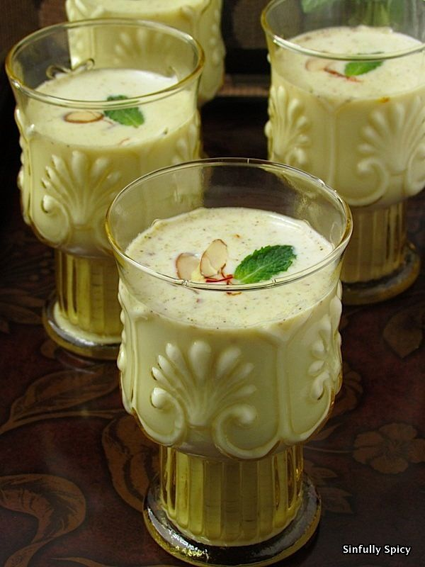 Thandai- 4 cups of whole milk (substitute with low-fat/almond milk/soy milk) 1/4 cup heavy cream ½ cup almonds 1/4 cup unsalted cashews 4 tbsp pumpkin seeds [or melon seeds if available] 2 tsp white poppy seeds [available in indian stores under the name 'Khus-Khus' or 'Posto'] 2 tsp whole black peppercorns [adjust to taste] 7-8 green whole cardamom pods 2 tsp fennel seeds [or aniseed] 1 tbsp rosewater saffron 4-5 fresh mint leaves Sugar to taste Nuts and ice cubes