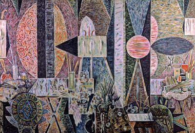 ΝΙΚΟΣ ΧΑΤΖΗΚΥΡΙΑΚΟΣ-ΓΚΙΚΑΣ Εργαστήρι στη δύση (1960), λάδι σε καμβά, 160 x 240 εκ. Συλλογή Μ. Βορίδη-Γουλανδρή, Αθήνα