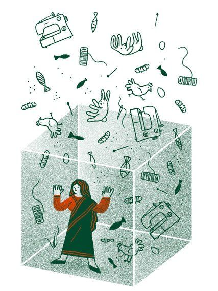 Sometimes development organizations actually render women invisible in the service of their narratives. (Illustration: Cristina Spanò) http://www.nytimes.com/2017/10/05/opinion/the-myth-of-womens-empowerment.html?smid=pi-nytimes&smtyp=cur