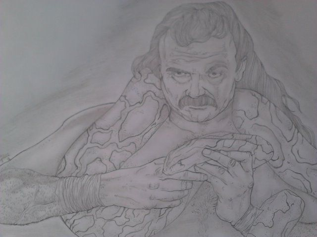 """WWE Hall Of Fame Wrestler. Jake """"The Snake"""" Roberts.  Size: 8.5'x11' pencil portrait.  For Sale: $20 Free Shipping!"""
