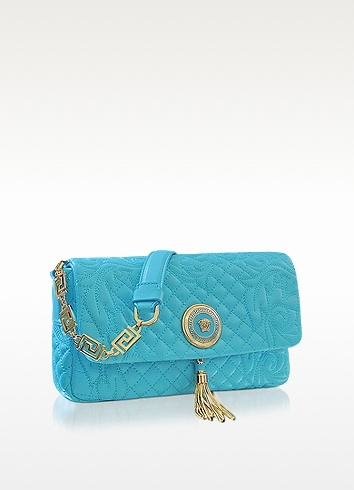 Versace Vanitas Light Blue Quilted Leather Shoulder Bag | FORZIERI