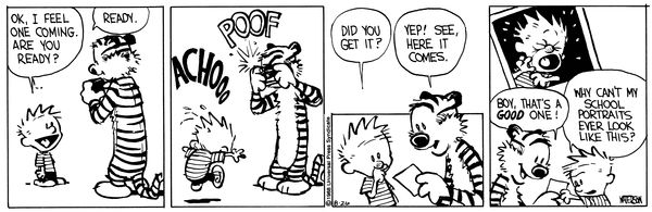 THE DAILY CALVIN: Calvin and Hobbes, August 26, 1988 - ACHOOO, POOF ...Boy, that's a GOOD one! ...Why can't my school portraits ever look like this?