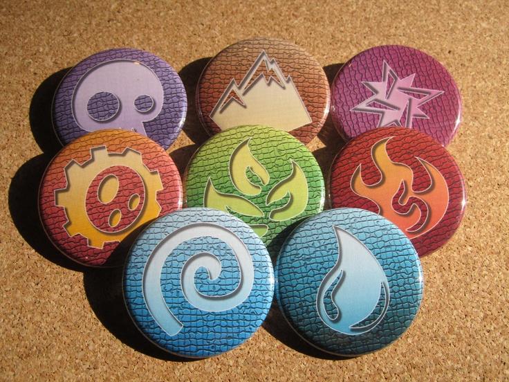 Skylanders Elements 8 Button set by cherriesama on Etsy, via Etsy.