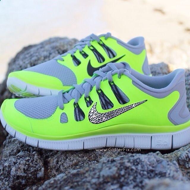 Nike Free 5.0 Neon Volt Swarovski Elements