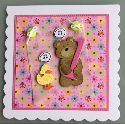 Hjemme hos Charlie Card for 1st bday. Speech bubble with music is and banner is from Lawn fawn