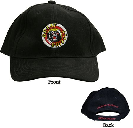 GG Black Baseball Cap - North Central Industries - www.greatgrizzly.com - MUNCIE INDIANA WHOLESALE FIREWORKS •Category: Promotional Accessories •Item Number: 1428 •Package Contents: 1 •Weight: 1 lbs Brand Name: Great Grizzly DESCRIPTION: Keep the sun out of your staffs eyes and it lets your customers easily identify workers!