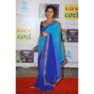 #Saree #Buy Online Shop Now - http://www.valehri.com/shop-online-pallavi-sharda-in-blue-half-shaded-designer-chiffon-replica-saree-with-blouse
