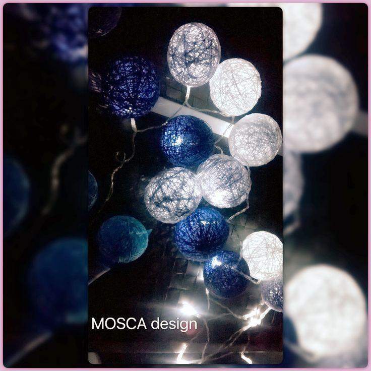 Handmade cotton ball  Blue grey white  Colored lights