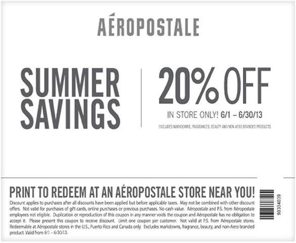 photograph regarding Aeropostale Printable Coupon called Aeropostale coupon code june 2018 / Paradise motor vehicle clean