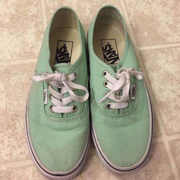 MINT GREEN VANS they are used but in very good condition. only worn a few times. they are really cute but I never wear them anymore. they just stay in the box in my closet, that's why I'm selling them. they are a woman's size 5 Vans Shoes