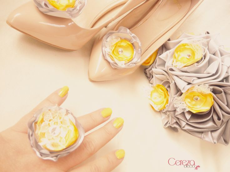 yellow and grey wedding mariage jaune & gris