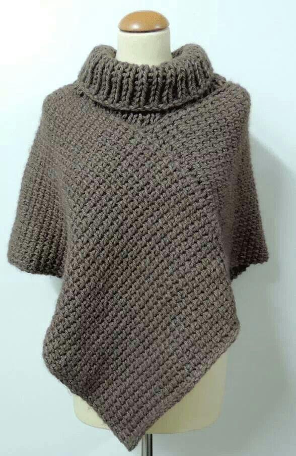 Free Tunisian Crochet Poncho Patterns : turtleneck poncho KNITTING Pinterest Ponchos and ...