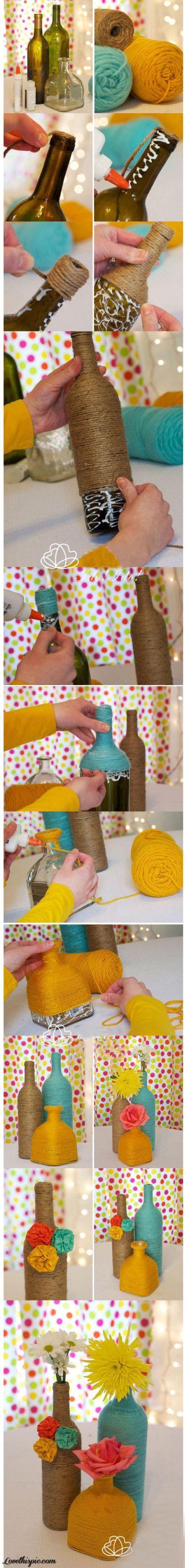 DIY Yarn Bottles diy crafts craft ideas easy crafts diy ideas diy idea diy home diy vase easy diy for the home crafty decor home ideas diy decorations by Kimberly23