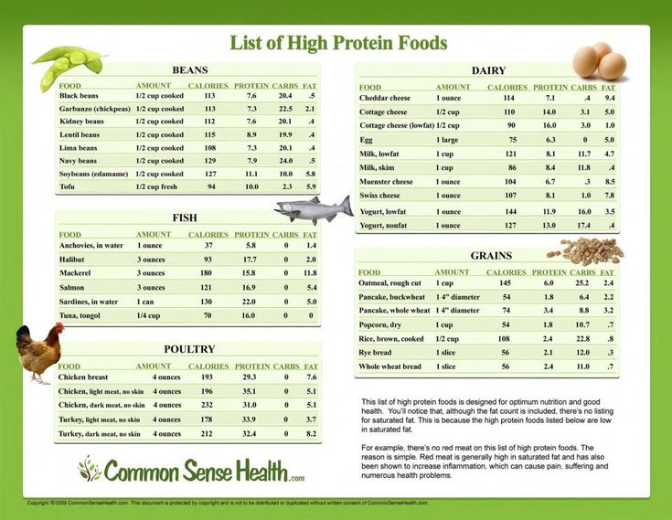 List of high protein foods, great for our 8 Day Challenge!