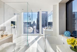 """Modern Full Bathroom with Castle 60"""" x 32"""" Front Skirted Air Massage Bathtub with Drain by Spa Escapes, Elegant White Marble"""