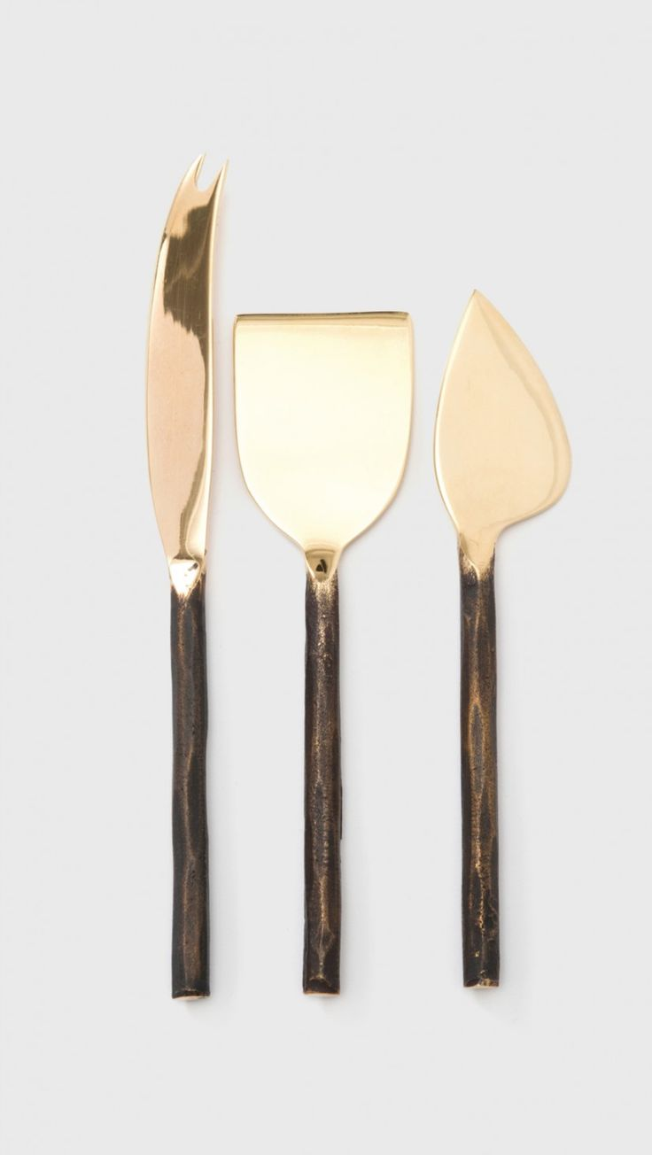 The Dreslyn Home Serafina Cheese Knife Set in Brass | The Dreslyn