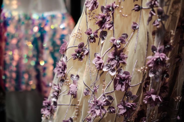 #BTS #NARCES #fashionshow #lace #handembroidered #purple #floral #sheer #bridal #evening