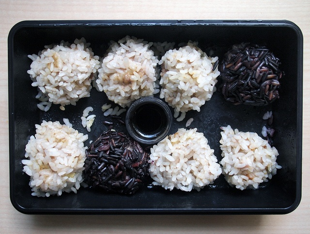 Dragon balls: kind of spicy meatballs covered with rice and steamed + soy sauce.