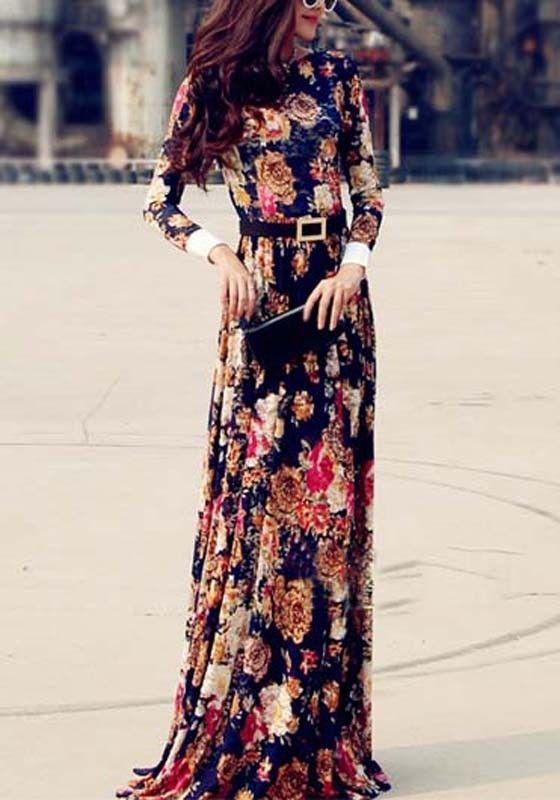 Blue Floral Print Chiffon Dress - Maxi Dresses - Dresses