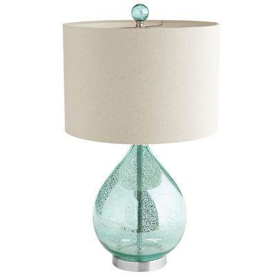 Our mercury glass lamp with a teal luster and ivory shade is worthy of a toast or two. Not only does it make an artful addition to your living space, but the price alone is cause for celebration.