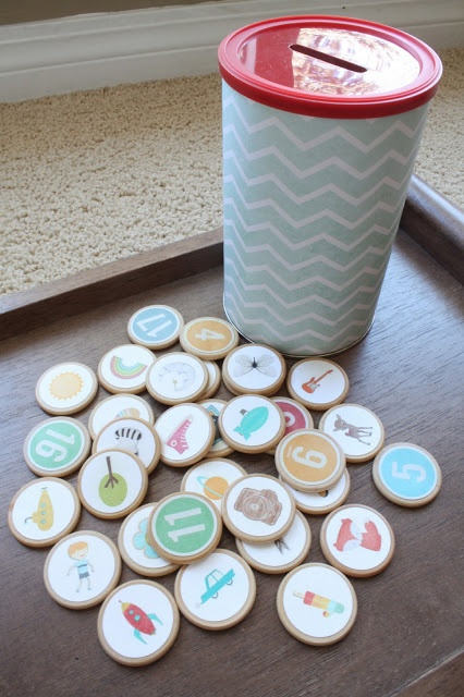 Ode to Life and Loves: DIY Kids Coins - can use for counting, classifying or story starters.  She used images from digi-scrapping to make these!  so very cool!
